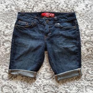 Guess Dark Denim Distressed Shorts 29